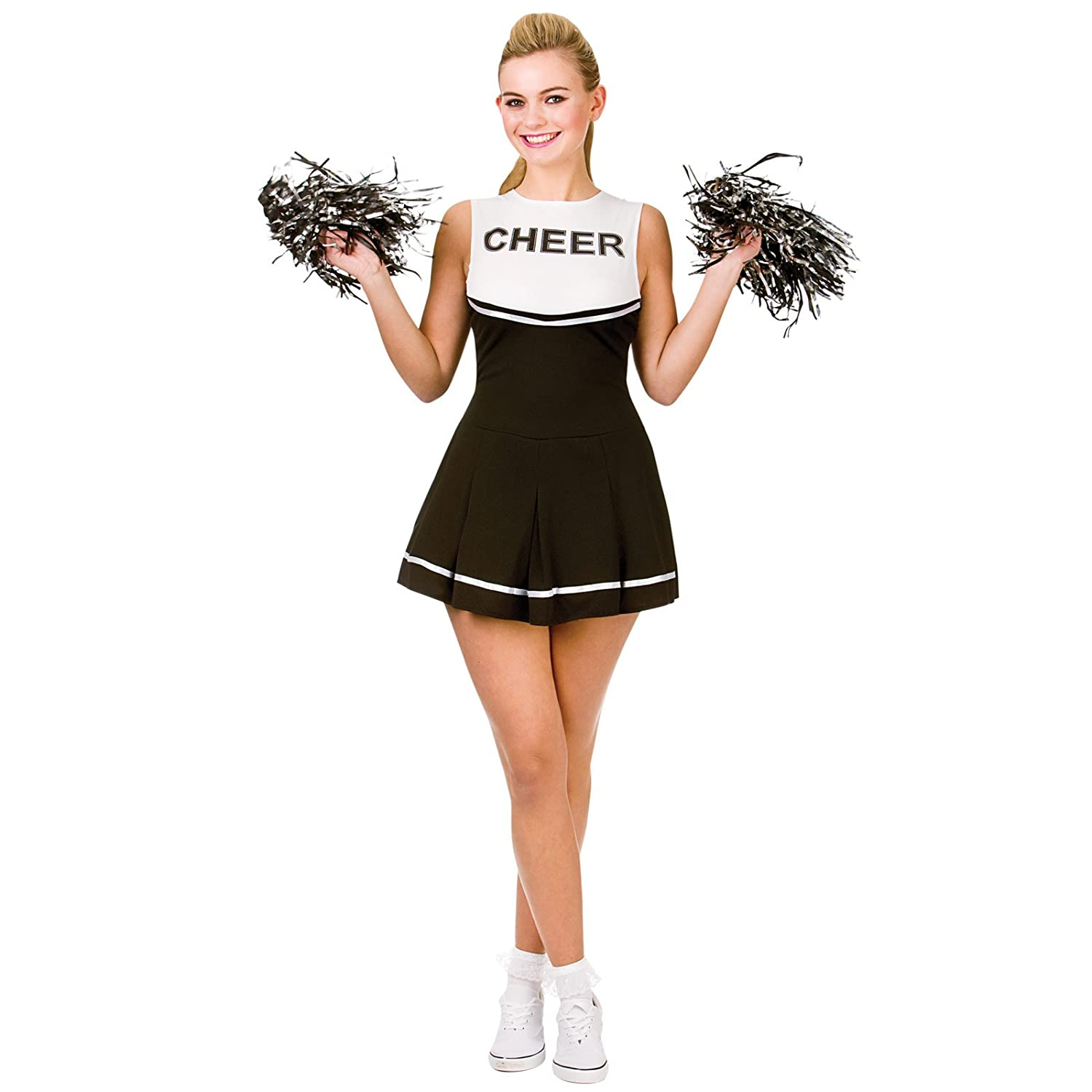 Cheerleader (Black & White) - Adult Costume Lady: S (UK:10-12 ...