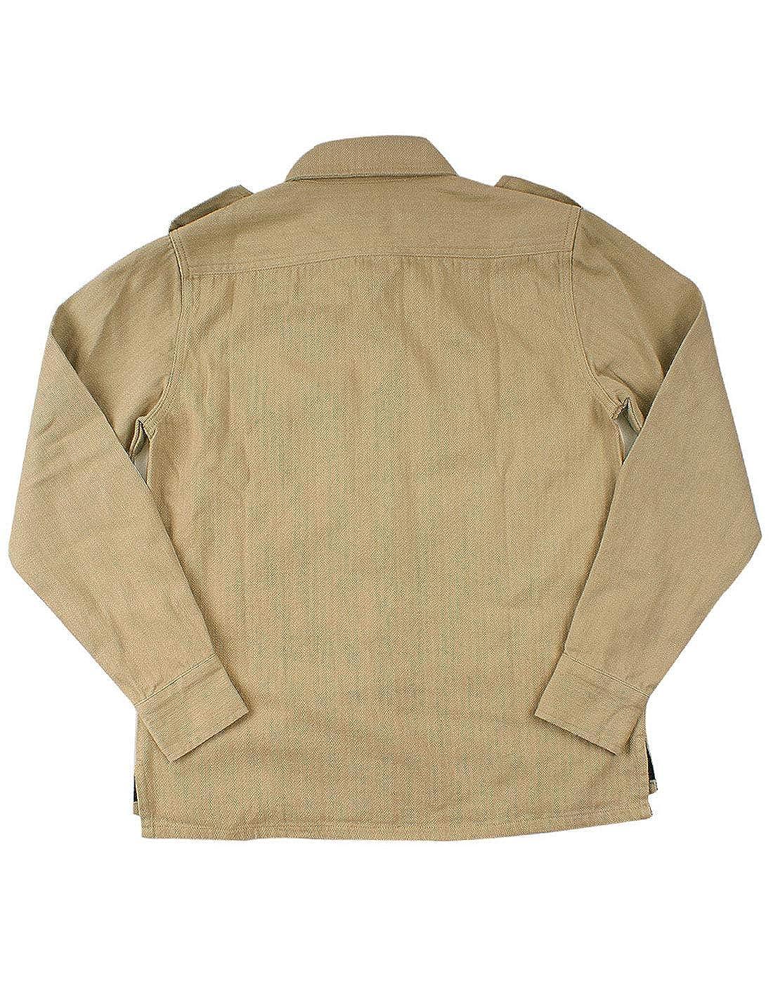 d71a34966 Khaki HUPOO Men's Lapel Collar Epaulet Epaulet Epaulet Buttons ...
