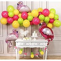 PartyWoo Flamingo Party Luftballons, 54 Stück Ballons Fuchsia, Luftballons Apfelgrün, Luftballons Gelb und Flamingo Folienballons für Flamingo Party, Hawaii Party, Tropical Party, Aloha Party