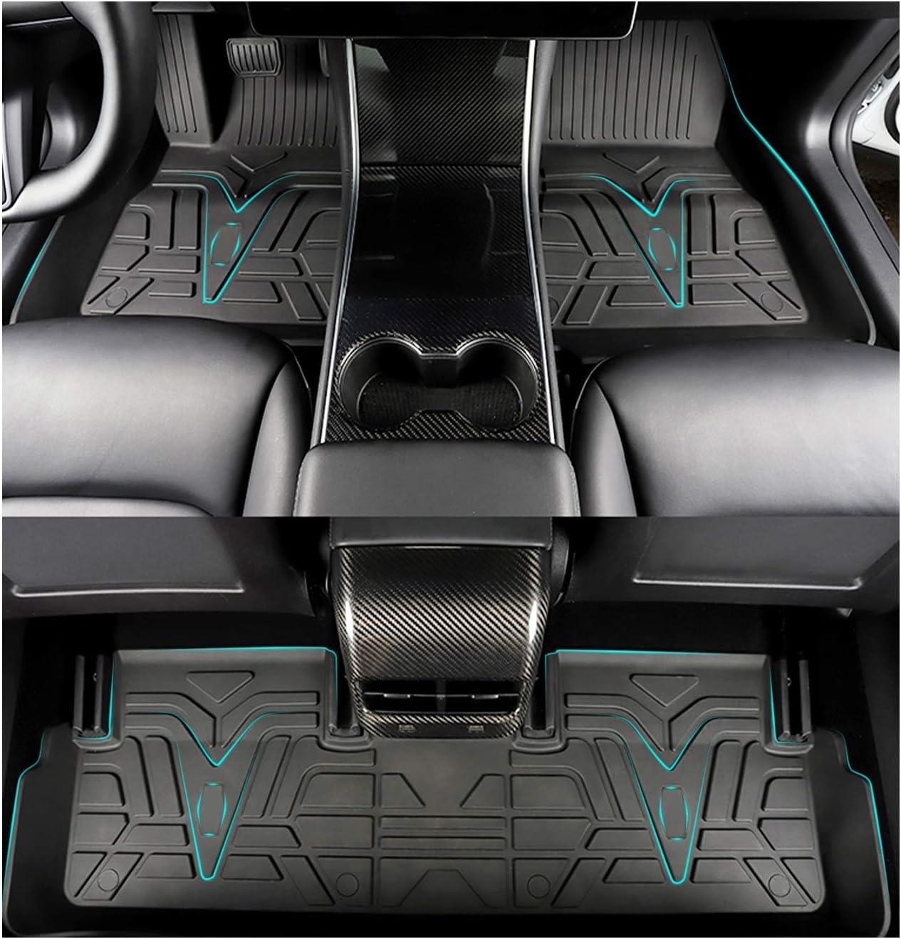LFOTPP Tesla Model 3 Floor Mats Liners TPE Heavy Duty Custom Fit All-Weather 3D Full Cover Rubber Floor Mats Black for 2017-2021 Tesla Model 3 Custom Laser Cut Non-Slip