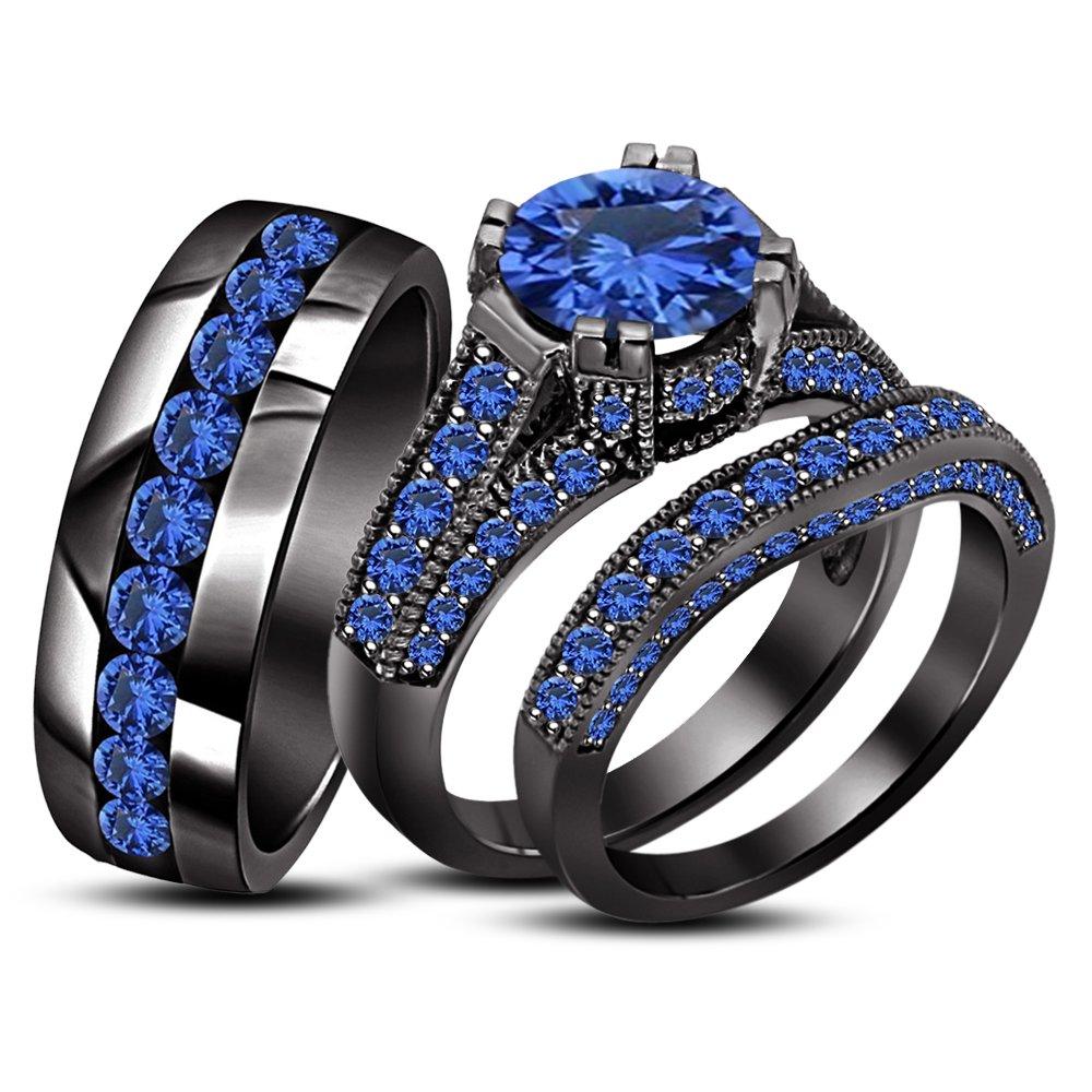 TVS-JEWELS Round Cut Blue Sapphire Trio Set In Black Plated 925 Silver Ladies Bridal & Men Wedding Band (Blue Sapphire)
