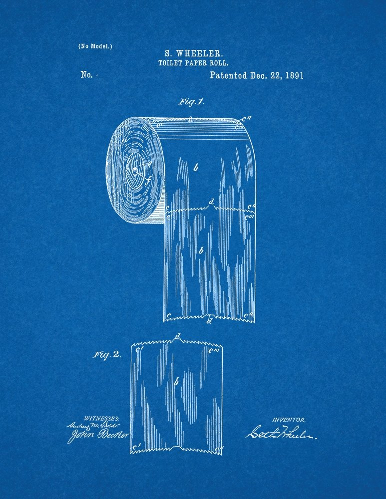 Amazon toilet paper roll patent print art poster blueprint 13 amazon toilet paper roll patent print art poster blueprint 13 x 19 posters prints malvernweather Images