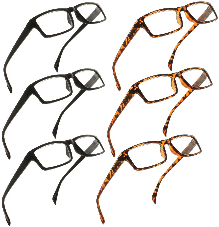 Fiore 6 Pack Spring Hinge Reading Glasses for Men & Women [1.50]