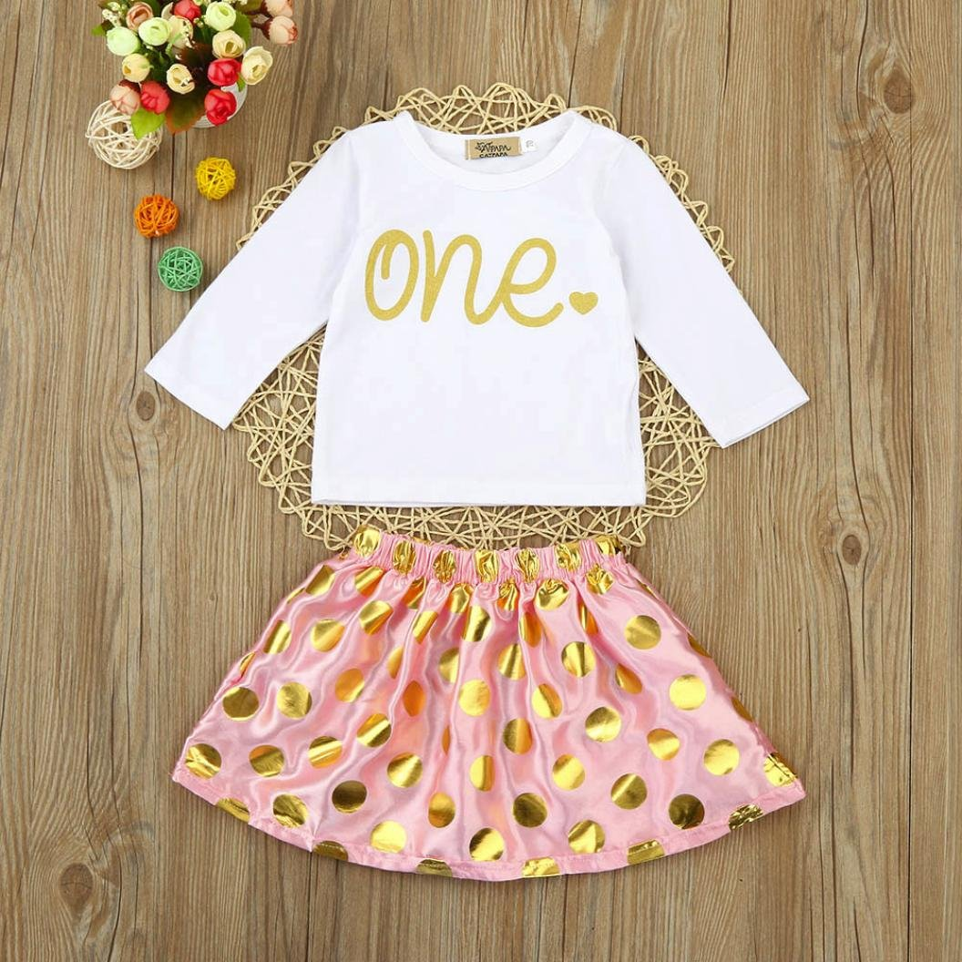 Sunbona 2pcs Set Outfits Infant Baby Girls Letter Print Long Sleeve Blouse+Skirt Clothes