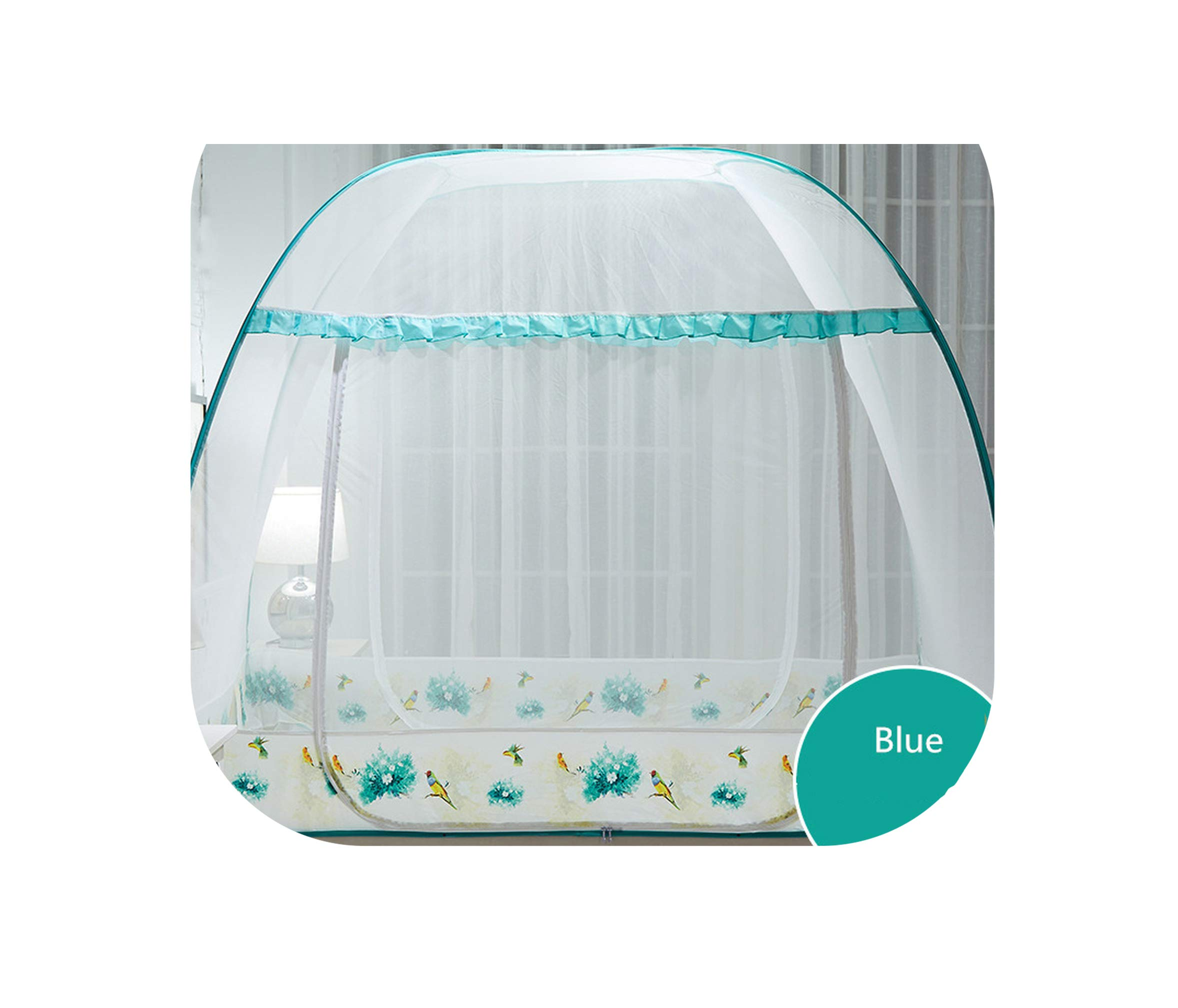 Large Square Mosquito Net for 1.8m Double Bed Insect Reject Bedding Net Three Door with Zipper Folding Portable Bed Net 13 Color,TK bainiaolanquandi,1.8m (6 feet) Bed