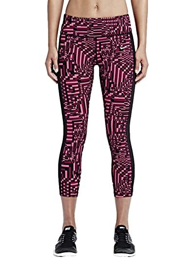Nike Women\u0027s Dri-Fit Epic Lux Printed Crop Running Tights-Magenta/Pink/