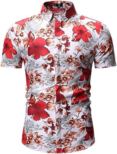 Camisa De Manga Corta Camisa De Flores Delgada De Ocio Playa De Los Hombres Ropa De Flores Hawaii: Amazon.es: Ropa y accesorios