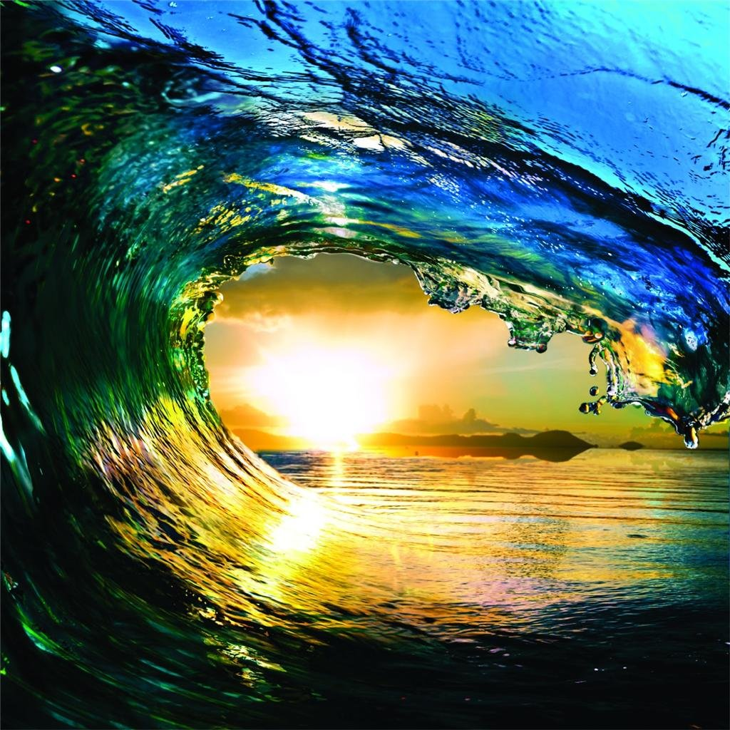 HUGE Water Wave Outdoor Scene Ocean Sun Sky Picture Art Mural Vinyl ...