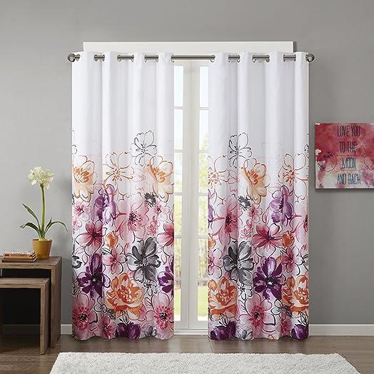 Intelligent Design Olivia Blackout Bedroom, Casual Darkening Window Living Room, Floral Print Grommet Black Out Curtain, 1-Panel Pack, 84 , Pink