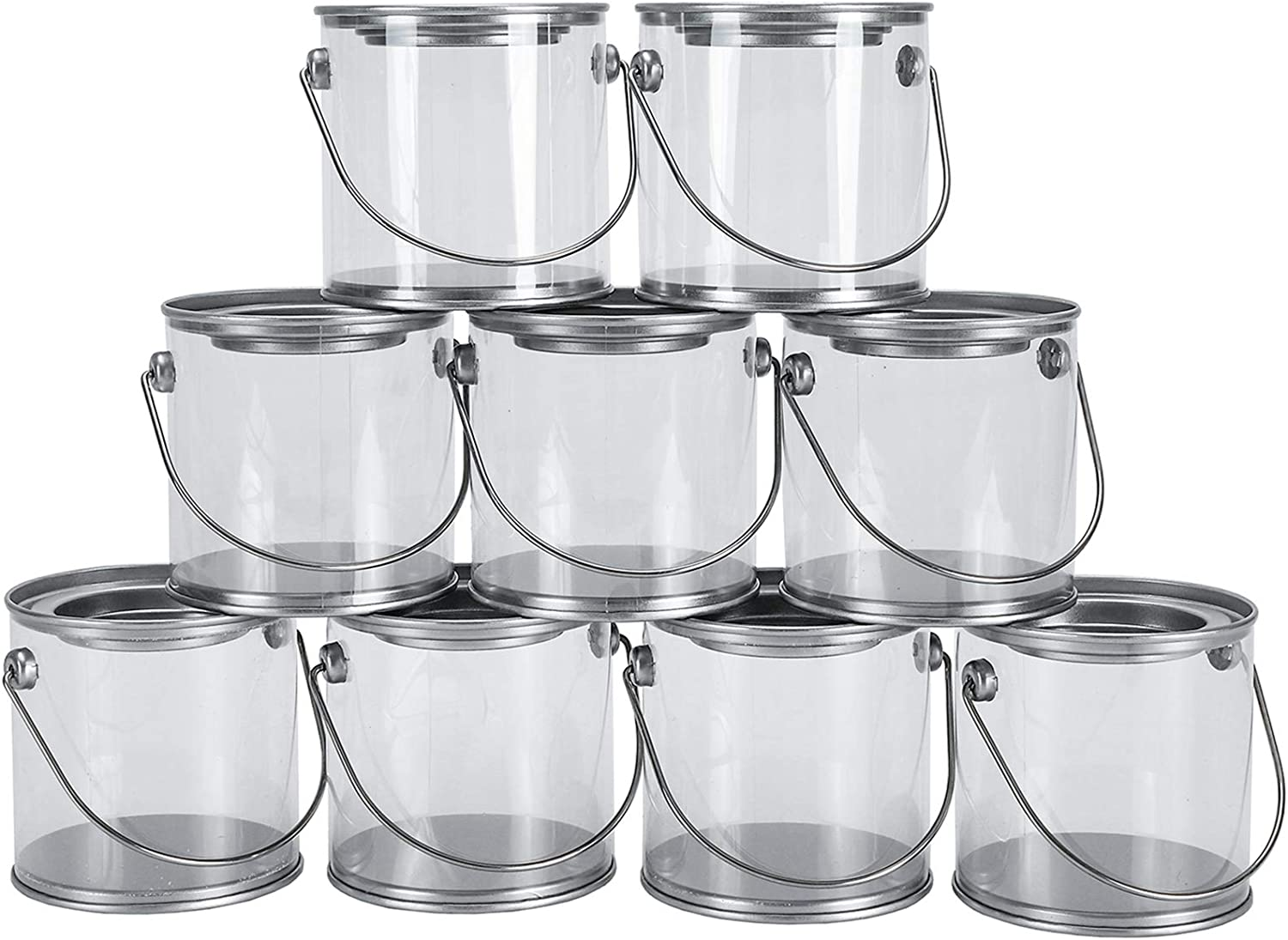 Hedume 9 Pack Mini Clear Plastic Paint Cans, 3-Inch Tall Crafts and Party Favor Cans, Paint Can Containers with Metal Lids Great for Party Decor and DIY