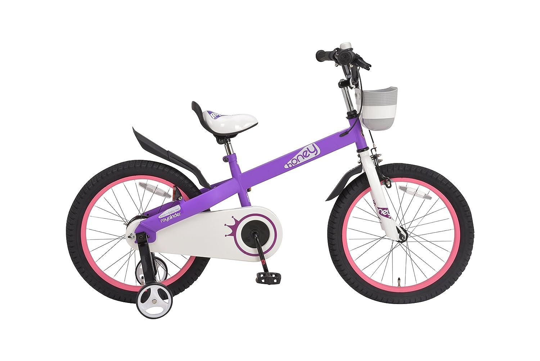 ROYALBABY(ロイヤルベイビー) 補助輪付き 18インチ子ども (幼児向け) 自転車[メーカー保証1年] フルカバーチェーンケースカゴ付き RB18-15H HONEY 18 B01HPH0R6W パープル パープル