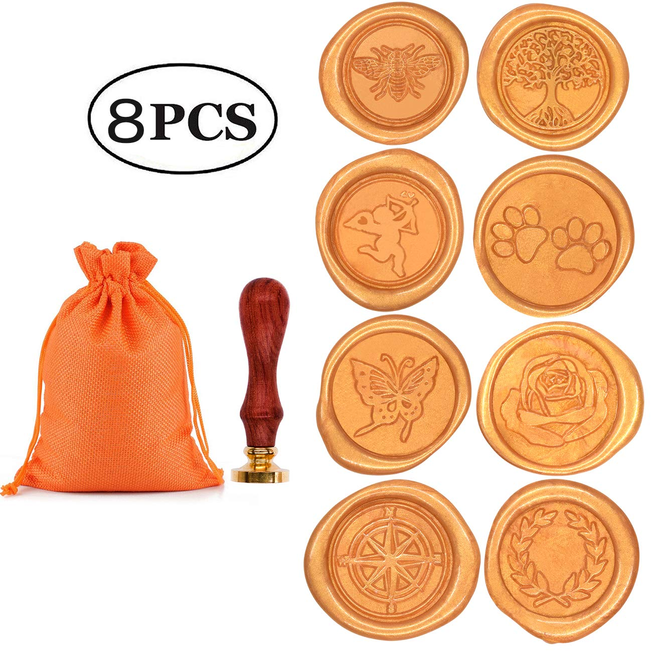 Wax Stamp Set, Aymayo 8 PCS Wax Seal Stamp Brass Heads and 1 PCS Wooden Handle, Arts & Crafts Vintage Adhesive Sealing Wax Stamp Kit with Gift Bag- Great Gift for a Friend or Yourself