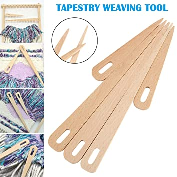Weaving Tools Loom Included Tapestry Beater Needle Weaving Shuttle Dowel Stick Shed Set of 5