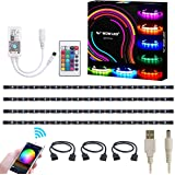 WOWLED WiFi Smart USB RGB LED TV Backlight Strip, Compatible with Alexa and Google Home, 4pcs Flexible RGB 5050 Strips Light DC 5V, Colour Changing Dimmable RGB LED Strip IP65