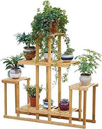 MLHJ Puesto de Flores- Rack de Escalera de Flores con 4 gradas, Soporte de Flores de bambú para Estante de múltiples Niveles para Interiores y Exteriores - Color de Madera: Amazon.es: Hogar