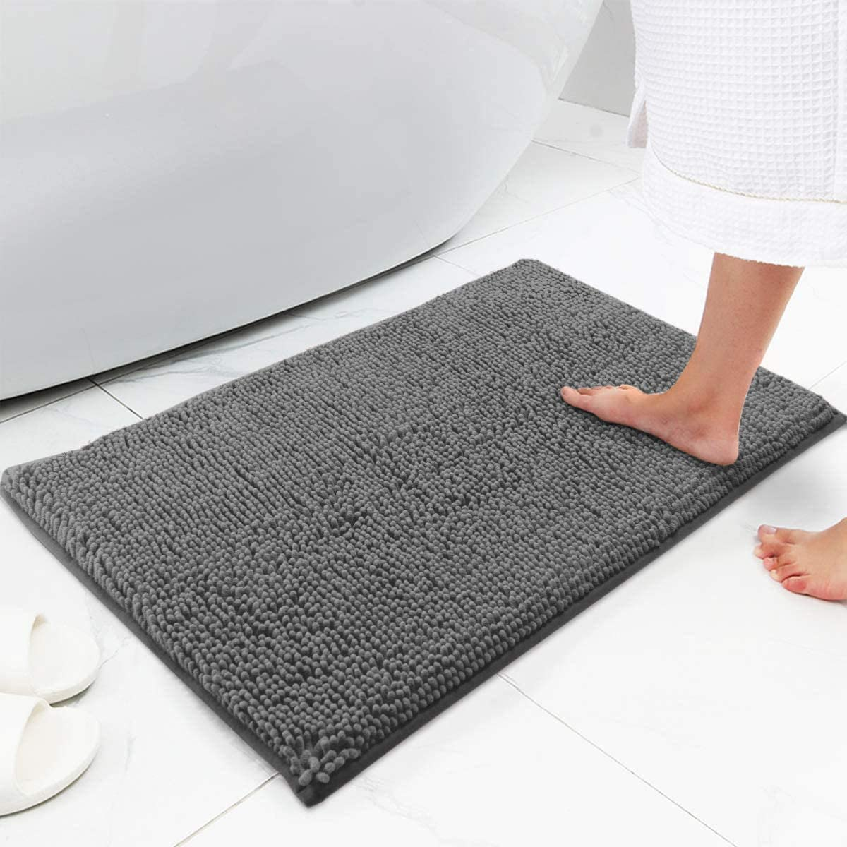 Bath Mat Chenille Bath Rug, Extra Soft and Absorbent Shaggy Bathroom Mat Rugs, Washable, Strong Underside, Plush Carpet Mats for Kids Tub, Shower, and Bath Room (28x55 Inch, Gray)