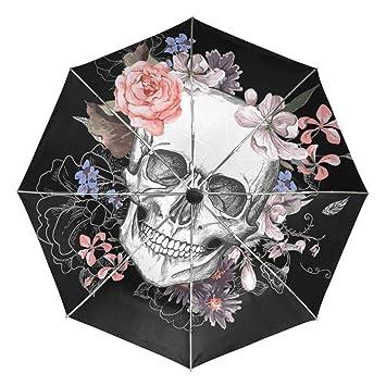 Paraguas automático, diseño de flores de calavera, resistente al viento, resistente al agua