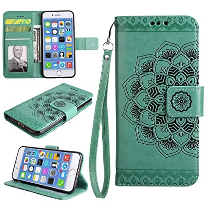 iPhone 8 Wallet Case[Free Screen Protector], ESSTORE Retro Mandala Embossing Premium PU Leather Stand Function Protective Covers with Card Slot Holder ...