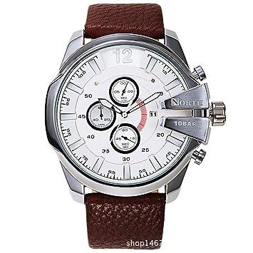 QSXF Reloj Unisex de Cuarzo con Correa de Cuero para Relojes Grandes DE 54 mm,