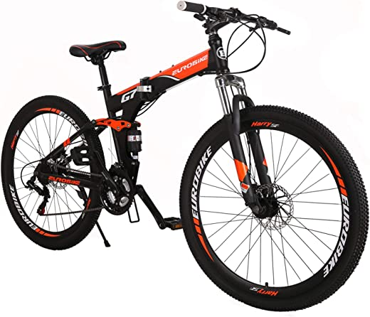 "Eurobike OBK G7 Folding Bike 21 Speed Full Suspension Mountain Bicycle 27.5"" Daul Disc Brake Mens Bikes Foldable Frame"