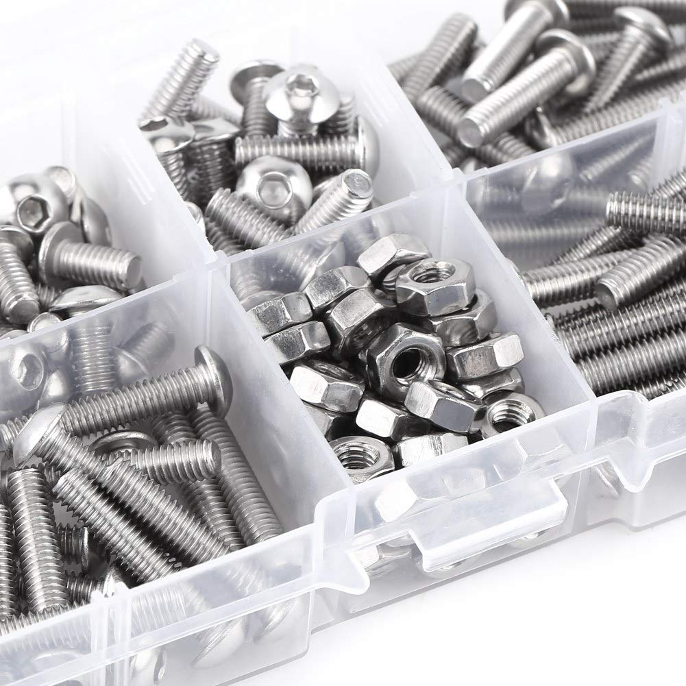 Screw nut Assortment 170pcs M4 Stainless Steel 304 Allen Screws Metric A2-70 Screws and Nuts Assorted Set Screw nut Set Made of 304 Stainless Steel