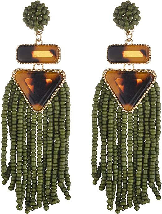 Nicole Miller New York Green Beaded Tassel Drop Leopard Print Triangle Dangle Earrings