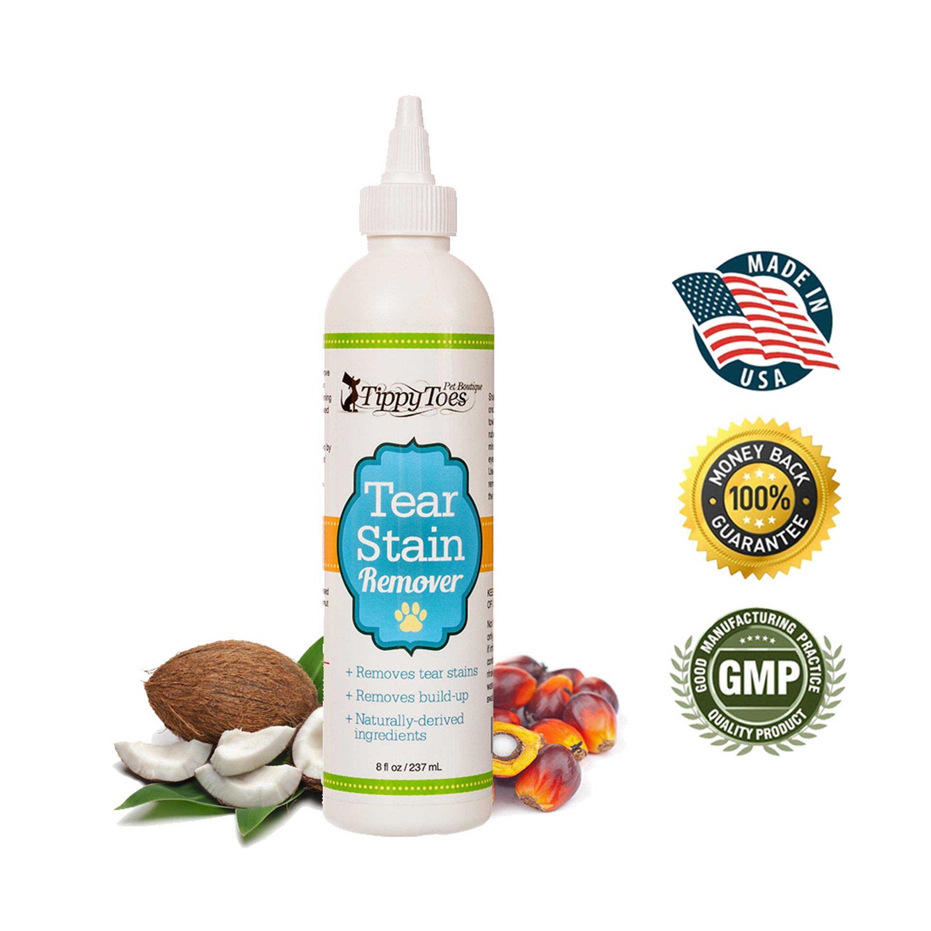 Tear Stain Remover for Dogs - Natural and Gentle on White Fur Our Premium Quality Treatment Cleans your Dogs Tears and Remove Eye Build Up Stains and Crust. For All Breeds And Sizes. Proudly USA Made