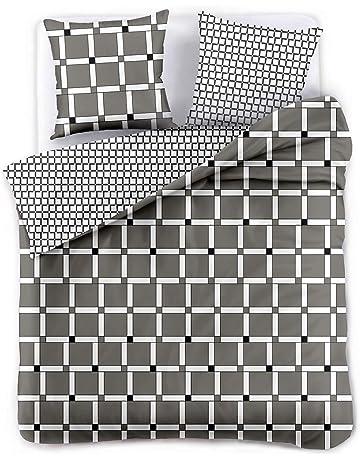 DecoKing Ropa de Cama Funda de la Almohada 80x80 Funda Nórdica Microfibra Geometría Geométrico Blanco Negro