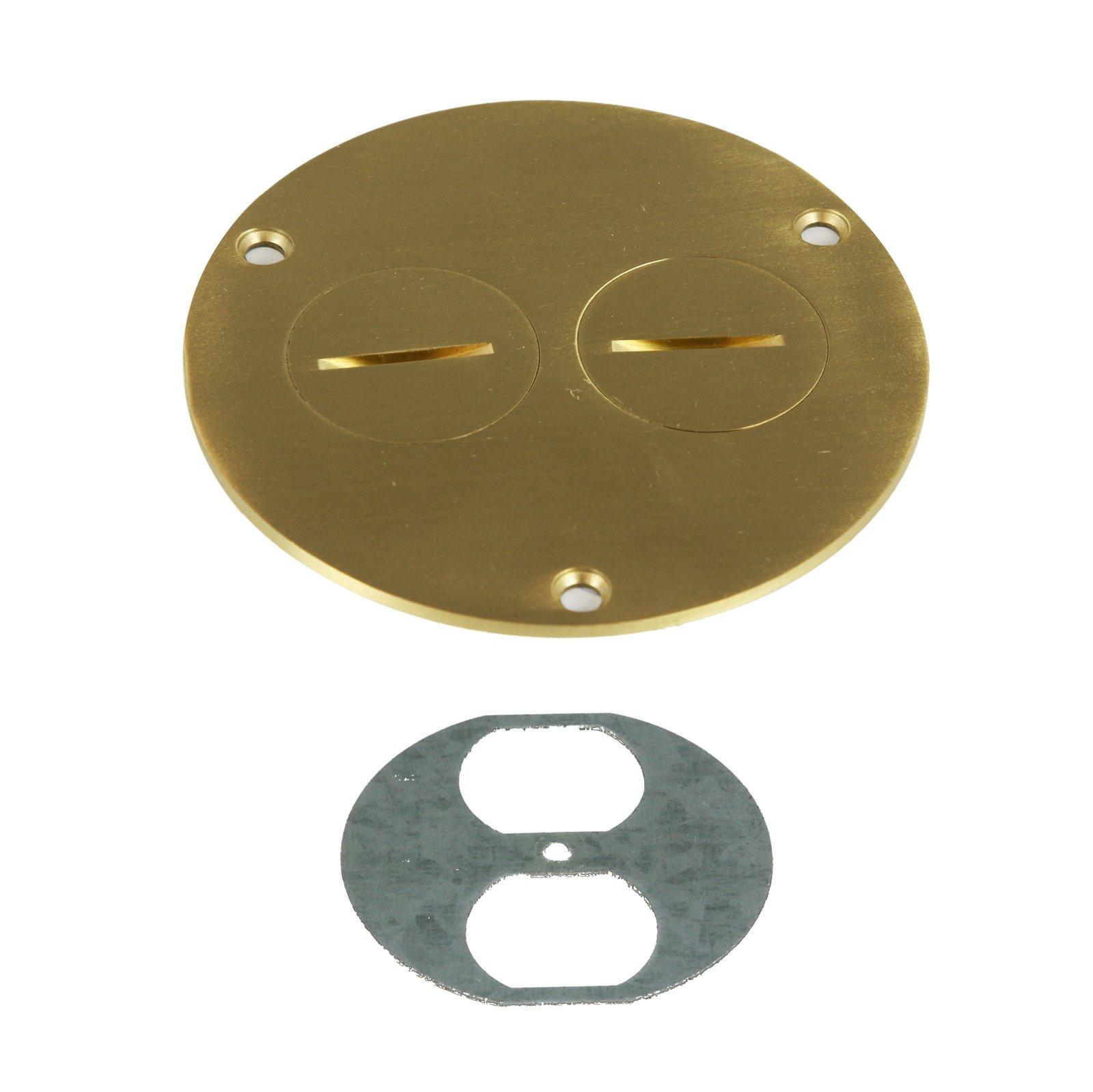 ENERLITES Screw Cap Floor Box Cover, 4'' Diameter, 20A Tamper-Weather Resistant Receptacle Outlet, Watertight Gaskets, 975501-C, UL Listed, Brass by ENERLITES