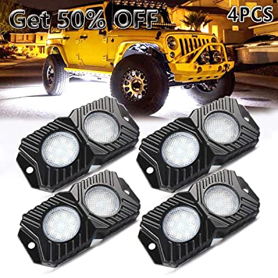 LEDMIRCY LED Rock Lights White Kit 4PCS Waterproof for JEEP Off Road Trucks RZR Boat ATV UTV SUV 12V-18W Trail Rig Lights Upgraded Version High Power / 4PCS-White: Automotive