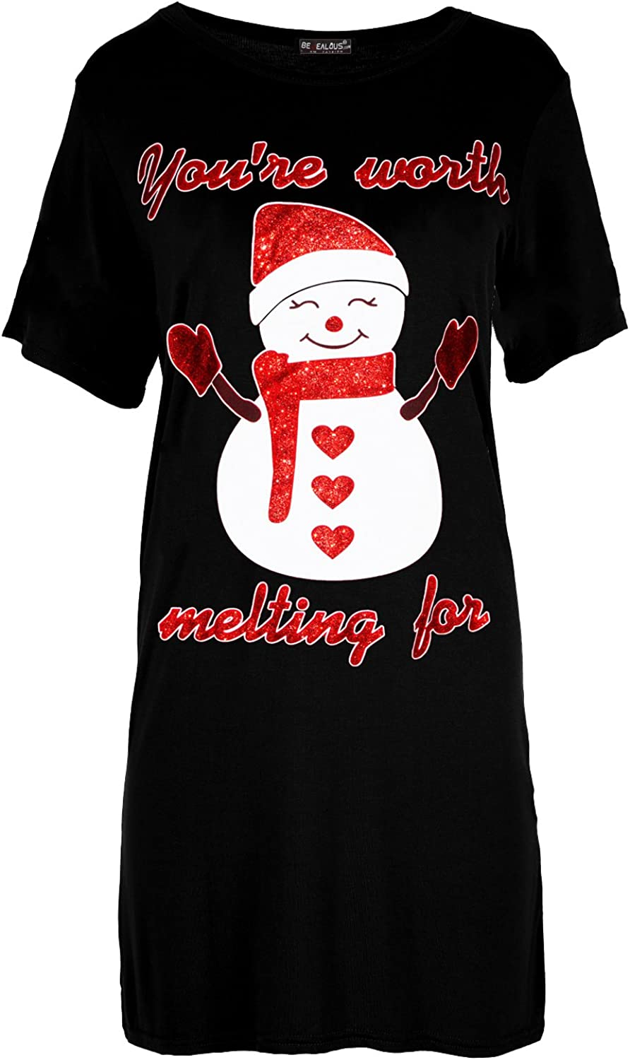 Womens Ladies Christmas Baggy Ho Ho Ho Snowman Oversized Batwing Tee T Shirt Top