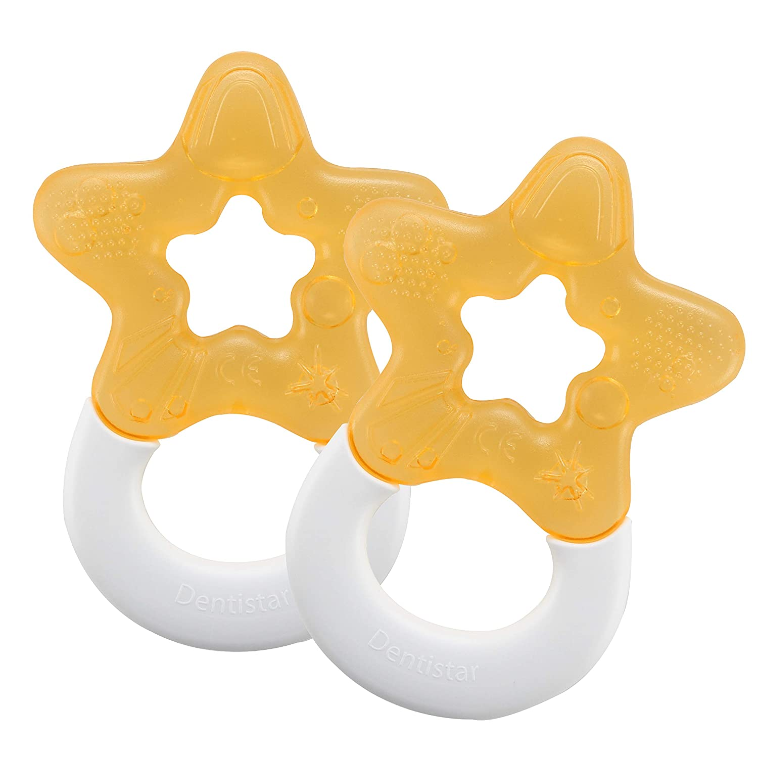 Teething aid for Babies from 3 Months Pink Cooling Biting Star Filled with Water DENTISTAR/® Cooling Teether in a Set of 2 Made in Germany