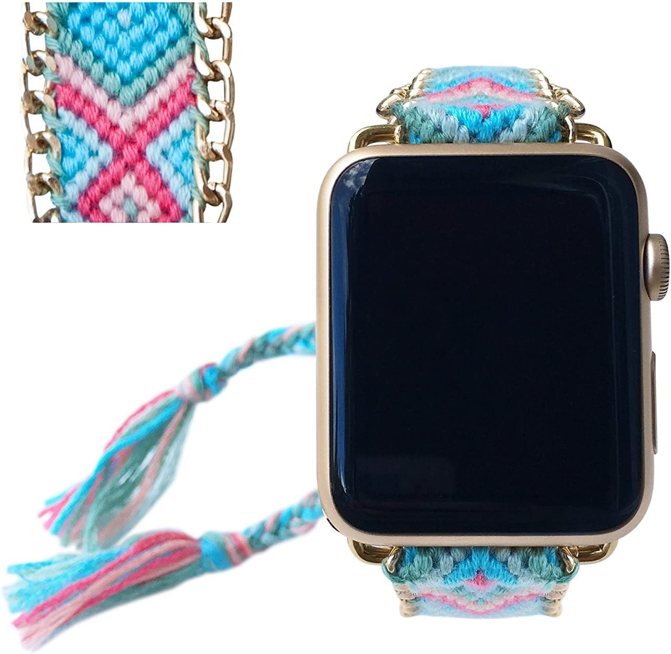 Apple Watch Band 38MM, Fashion Handmade Friendship Bracelet Replacement iWatch Strap Women Girls for Apple Watch Series 2 Series 1 All Version (Pale Summer)