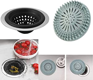 Stainless Silicone Kitchen Sink Strainer For Traps Food Debris and Prevents Clogs,Hair Catcher Durable Silicone Hair Stopper Shower Drain Covers For Bathroom Bathtub and Kitchen(2 in 1 Pack)