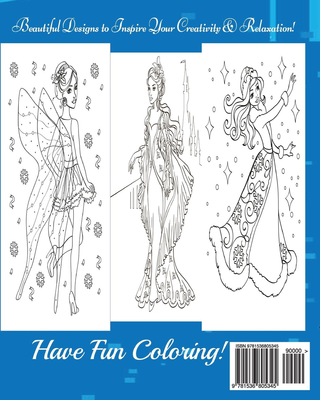 1 Disney Princess A Blue Dream Adult Coloring Book To Inspire Creativity And Relaxation Volume Dave Archer 9781536805345