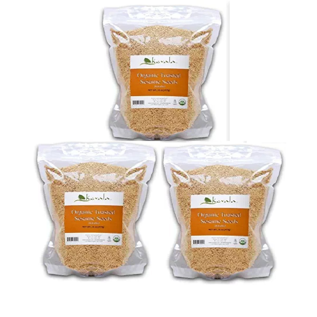 Kevala Organic Toasted Sesame Seeds 1Lb (3-Pack)