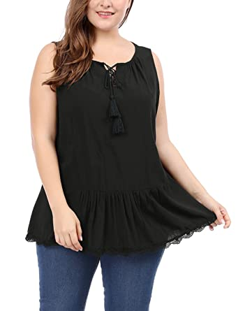f0a2534fcfd uxcell Women s Plus Size Lace-Up Front Lace Trim Sleeveless Top 1X Black