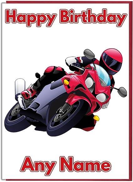 Carte D Anniversaire Moto Rouge Personnalisable Amazon Fr Fournitures De Bureau