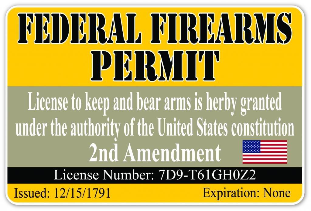 Amazon com pack of 3 stickers federal firearm permit pro gun second amendment cool funny gun license vinyl decal bumper sticker 4 inches x 6 inches