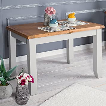 The Furniture Outlet Hampshire Grey Painted Oak Small Extending Dining Table