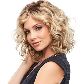 Amazon Com Lvyuanda Women Fashion Short Blonde Curly Wigs