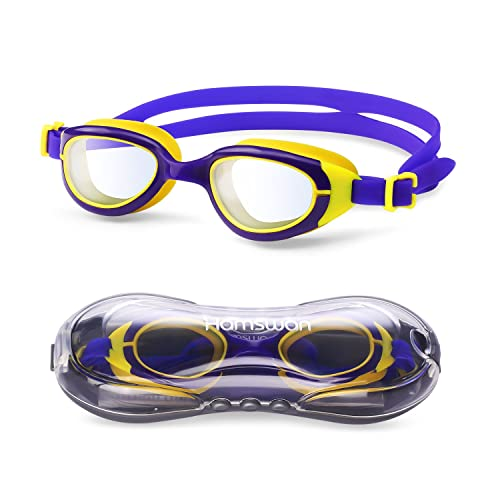 HAMSWAN Kids Swimming Goggles, Kids' Swim Goggles Clear Vision No Leaking Anti-Fog UV Protection for Kids Boy Girl with Free Swim Goggles Protection Case