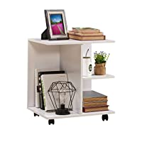 Deals on GreenForest Nightstand with Moveable Wheels Wooden Storage Shelf