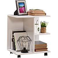 GreenForest Nightstand with Moveable Wheels Wooden Storage Shelf