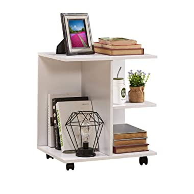GreenForest End Table with Rolling Wheels Printer Stand Bedside Table for Bedroom,White