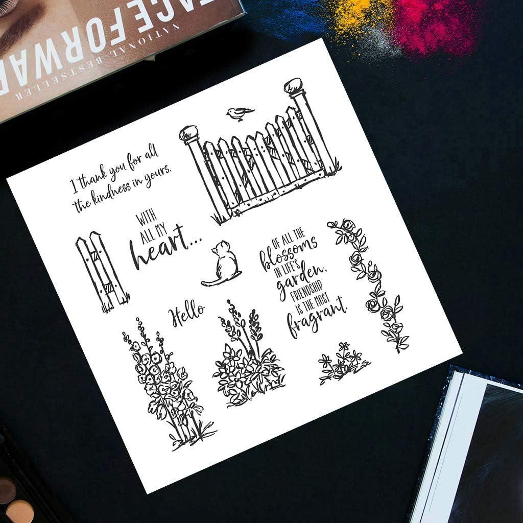 DIY Stamp Stempel Pr/ägung Cat in the Garden Clear Stamps Silikonstempel DIY Dekoration Stanzen Pr/ägung Stempel Stempel Silikon