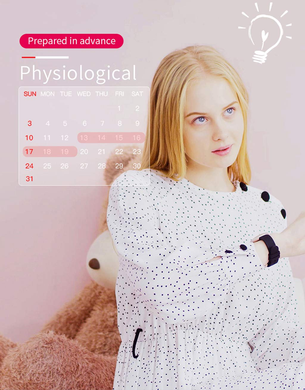 TADAMI Female Heart Rate Color Screen Physiological Period Reminds Fashion Smart Bracel (Black) by TADAMI Blouse (Image #4)
