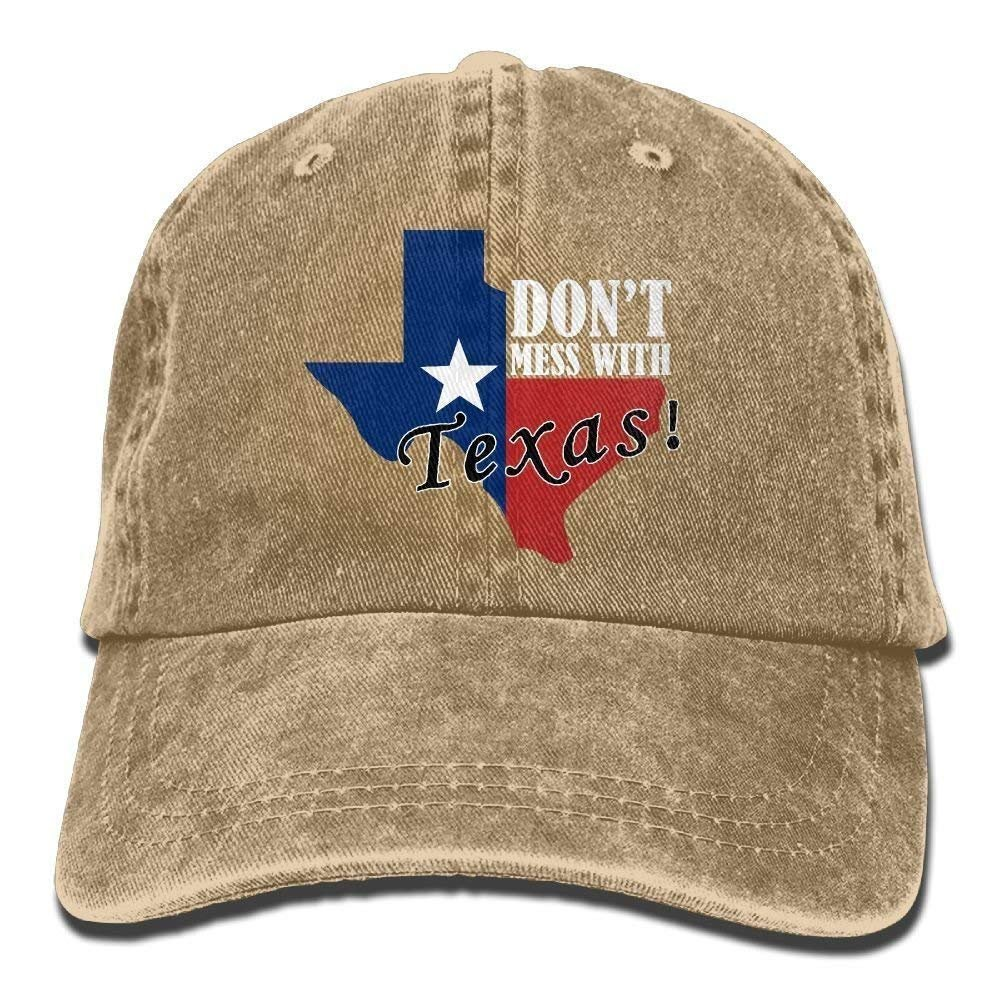 KAKICSA Personality Caps Hats Dont Mess with Texas Adult Denim Fabric Hat for Boy Female Unisex, Boy's Female'S Baseball Hat