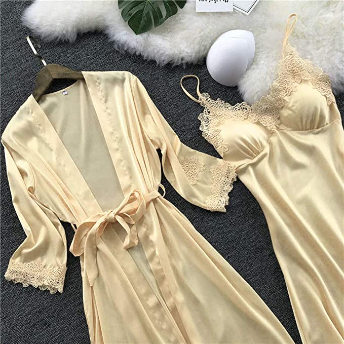TIFIY Lencería Mujer Seda Vestido de Bata de Encaje Babydoll Camisón Ropa de Dormir Kimono Conjunto(,) : Amazon.es: Ropa y accesorios