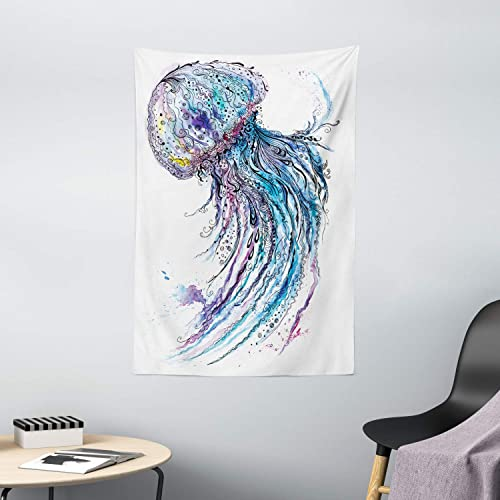 Ambesonne Jellyfish Tapestry, Aqua Colors Art Ocean Animal Print Sketch Style Creative Sea Marine Theme, Wall Hanging for Bedroom Living Room Dorm Decor, 40 X 60 , Blue White